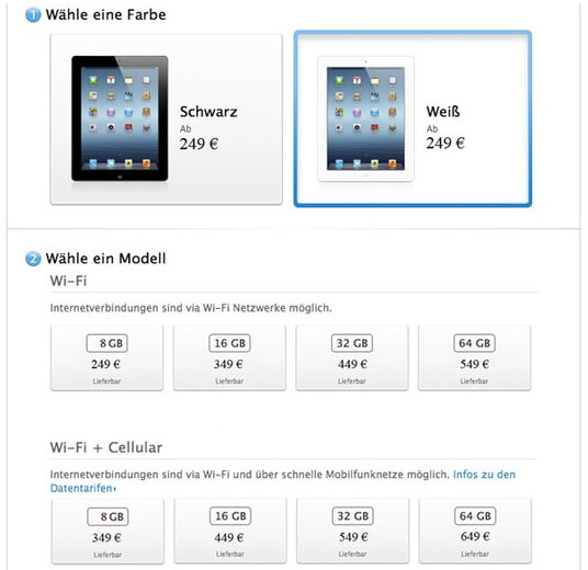 different models and prices for ipad mini