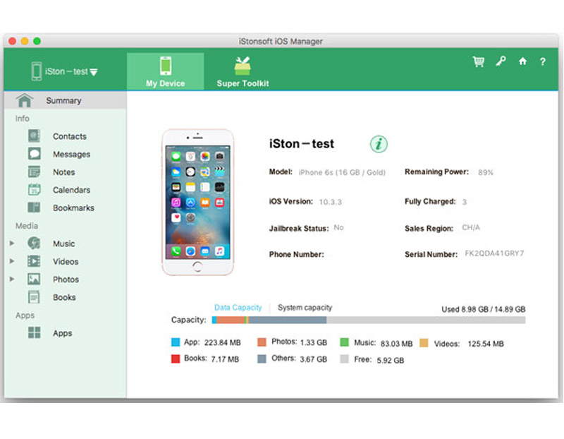 Screenshot of IStonsoft iPhone to Mac Transfer 3.6.0