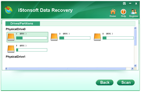 select a partition to recover data for fat and ntfs