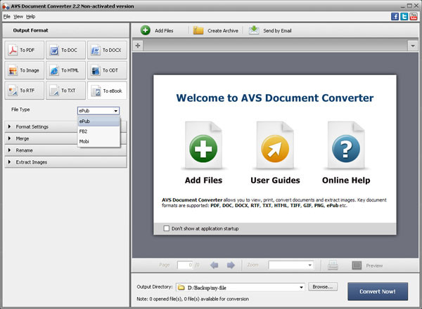 epub to docx converter main interface