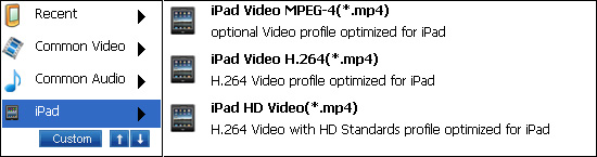 settings for converting video to ipad