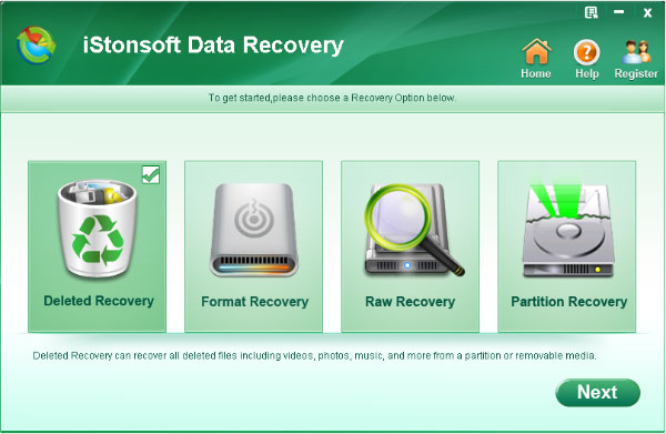screenshot of data recovery software