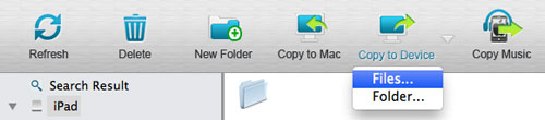 select to copy files from mac to device
