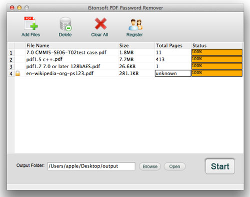 screenshot of pdf password remover for mac