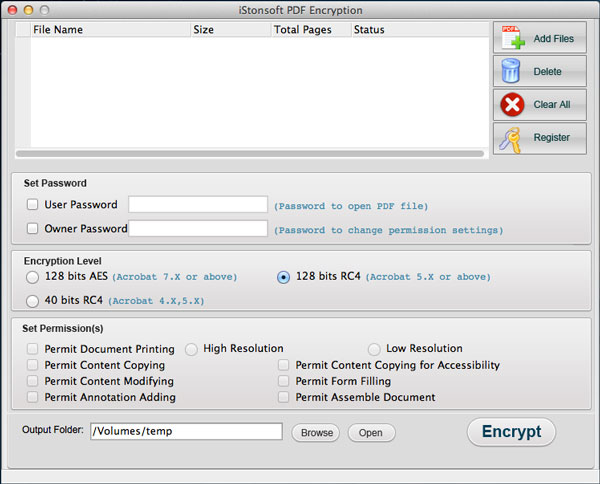 screenshot of pdf encryption mac