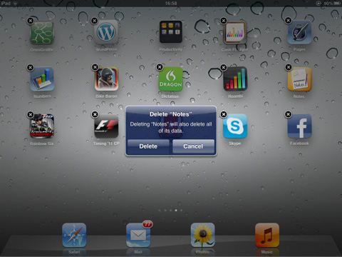 confirm to delete apps off ipad