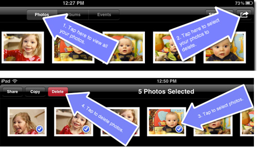how to delete pictures from ipad directly