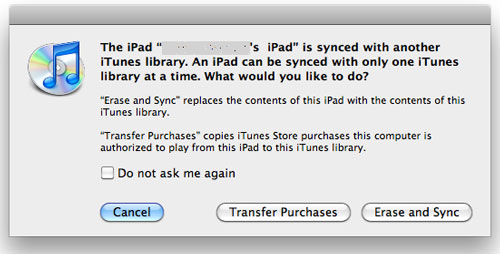 choose to transfer purchases from ipad to mac