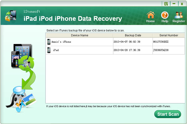 select proper itunes backup file before start scanning