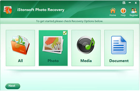 launch to recover deleted photos from memory card