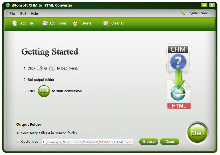 screenshot of chm to html converter