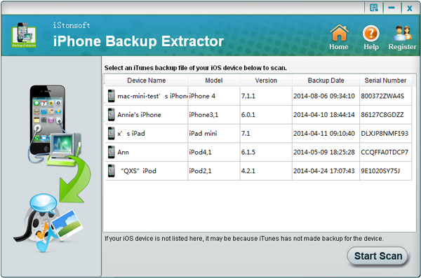 Click to view iStonsoft iPhone Backup Extractor 2.1.1 screenshot