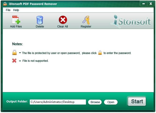 istonsoft pdf password remover interface
