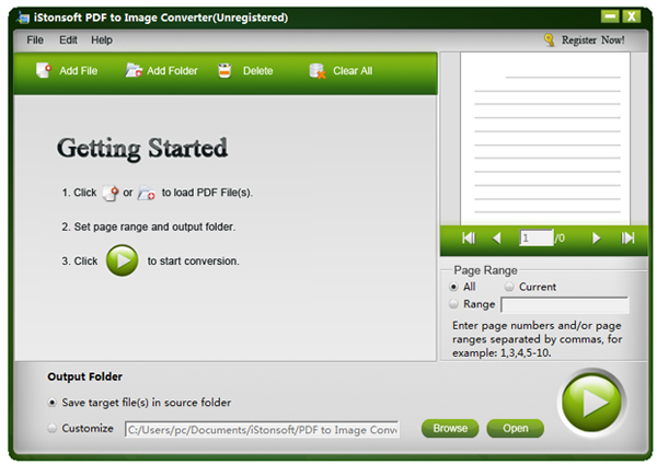 screenshot of pdf to image converter software